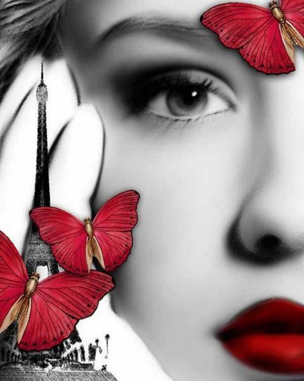 Черно белое фото девушек с красным цветом